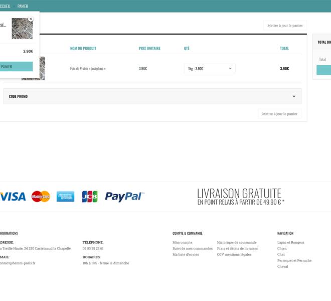 Panier boutique animalerie en ligne